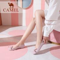 camel骆驼女鞋 2019春季新款 时尚舒适低跟单鞋女套脚蝴蝶结装饰单鞋女