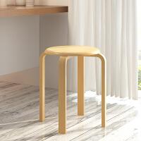 【品牌秒杀 同价11.11】亿家达简易家用实木凳子餐凳小圆凳可叠放
