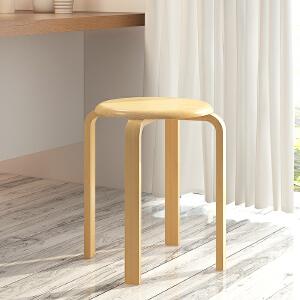 亿家达简易家用实木凳子餐凳小圆凳可叠放