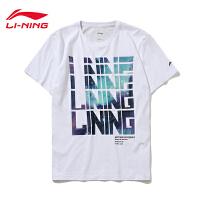 李宁短袖男士2019新款BAD FIVE篮球系列夏季圆领棉质字母印花T恤AHSP267