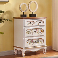 美式实木三四五斗柜客厅储物柜卧室简约现代收纳柜斗橱抽屉式柜子 白色三斗 整装