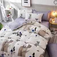 枕头四件套单人床全棉被子枕头冬被学生双人床枕头褥子宿舍三件套 浅米白 三只松鼠