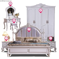 全实木家具套装组合卧室六件套成套简约床衣柜全套欧式主卧家具 +床垫+衣柜+妆台+妆凳 4门