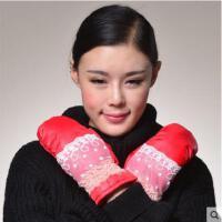 新款女士手套羽绒女冬天加厚保暖连指手套甜美时尚韩版手套