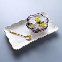 日式樱花玻璃碗 金边甜品碗燕窝碗创意糖耳汤碗盅雪糕沙拉碗 紫色樱花碗+金边长方盘 送金花勺 碗约200ML