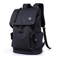 韩版帆布双肩电脑包男大容量旅行包青年大中小学生休闲书包