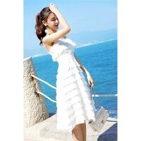 小心机性感显瘦吊带裙子女2018夏流苏雪纺连衣裙超仙女海边度假沙滩裙 白色