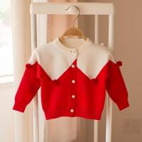 女童毛衣开衫宝宝外套儿童装红色针织衫婴儿毛线小童0-4岁春秋款 红色 2619
