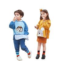 kk树宝宝吃饭围兜秋冬反穿罩衣儿童男女灯芯绒围裙小孩防脏画画幼儿园