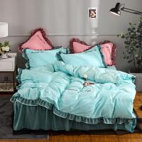 网红蕾丝床裙床罩四件套公主风全棉纯棉床单被罩带床套款纯色花边