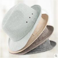 帽子男女秋季礼帽时尚休闲男士帽子中老年人春秋爵士帽老人帽