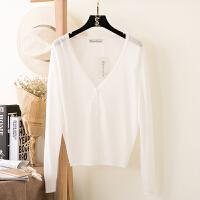 2018新款冰丝上衣夏季薄款外披短款防晒衣外搭空调衫针织衫女开衫披肩外套 白色 长袖
