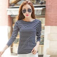 T恤 女士一字领条纹长袖套头衫2019年秋季新款韩版时尚女式休闲简约女装打底衫