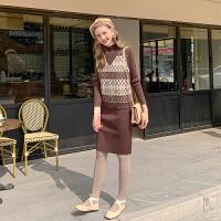 MG小象时尚套装两件套2019新款韩版外搭针织马甲背心中长款连衣裙