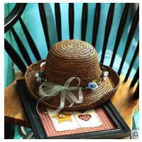 女款可卷边礼帽子 简约花环草帽女 夏天沙滩帽韩版拉菲草遮阳帽防晒度假