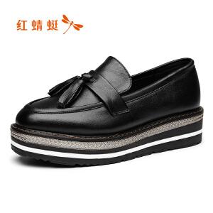 红蜻蜓女鞋2017秋季新款厚底休闲女单鞋时尚流苏圆头真皮乐福鞋