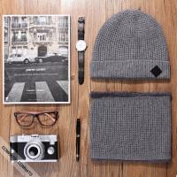 帽子男冬天韩版针织帽毛线帽羊毛保暖套头帽护耳帽围脖套装
