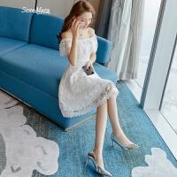 2018夏装新款女装初恋裙一字肩白色蕾丝连衣裙气质女神范小礼服女 白色