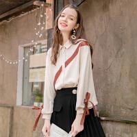 毛菇小象学生少女衬衫女长袖秋季新款灯笼袖雪纺上衣休闲网红衬衣