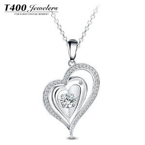T400韩国气质s925银项链女心形锁骨链个性时尚吊坠串心恋  12144