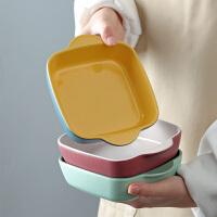 光一陶瓷双耳�h饭碗长方形菜盘子北欧ins风烤碗烘焙家用烤箱专用烤盘