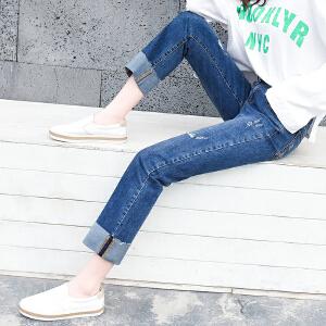 Freefeel 2018春夏新款牛仔裤女2色弹力直筒卷边九分裤bf韩版ins超火的裤子wd8095