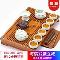 紫砂茶具套装家用紫砂功夫茶具套装家用简约整套陶瓷茶道木质茶盘茶台套组干泡茶具 5件