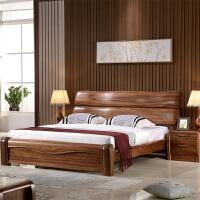 实木床1.8乌金木原木床厚重款 现代中式1.5米双人床高箱储物婚床 乌金木全实木床