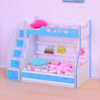 娃娃屋DOLLHOUSE迷你模型袖珍家具场景配件 蓝色的高低床