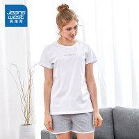 [秒杀价:47.9元,仅限2.25-28]真维斯女装 夏装 女装圆领印花短T恤短裤休闲两件套装
