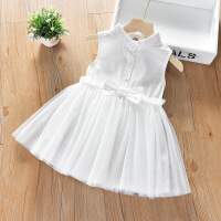 【领券2件2折】斯提妮女童连衣裙白裙子2021新款韩版蕾丝公主裙宝宝超洋气背心纱裙夏装