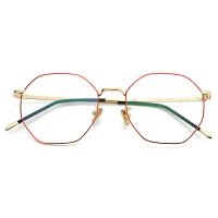 2018082403407972018新款眼镜简约男女款文艺眼镜女复古多边形眼镜架细框超轻可配近视眼镜
