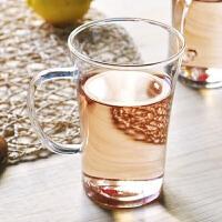 单层玻璃杯330ml水杯玻璃杯单层女士便携水杯创意随手杯清新花茶杯可爱透明细长杯