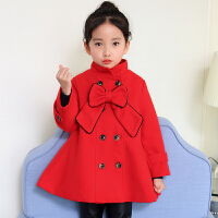 女童毛呢外套2017新款韩版公主呢子大衣红色5岁女孩装7秋加厚 红色 蝴蝶结呢子