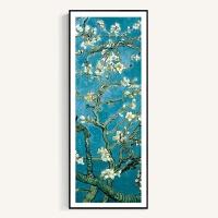 梵高装饰画向日葵杏花世界名画长挂画竖风景画客厅玄关壁画墙画 53x133厘米 白色框(3.5厘米厚) 单幅价