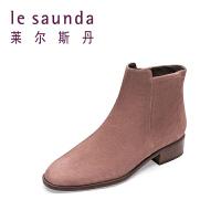 莱尔斯丹 冬新款矮靴圆头粗跟羊绒面皮单靴短靴女靴子30409