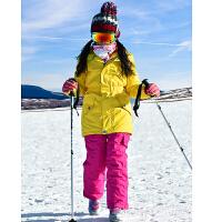 户外滑雪男女儿童滑雪服套装 防水保暖 儿童男女款滑雪服衣裤 黄色上衣玫红裤 150