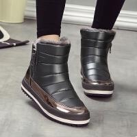 季防水雪地靴女童短靴子加绒男童棉鞋宝宝季鞋保暖子鞋 灰色 (大人款)