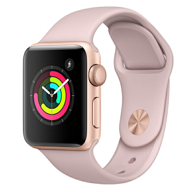Apple Watch Series 3智能手表(GPS款 38毫米 金色铝金属表壳 粉砂色运动型表带 MQKW2CH/A)可使用礼品卡支付 国行正品 全国联保