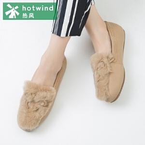 热风hotwind2018秋新款学院风圆头平底女士加绒低帮鞋中口单鞋H10W7313