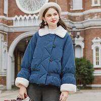毛菇小象chic棉衣女2019新宽松短款加厚棉袄小个子羊羔毛冬季外套