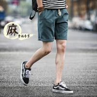休闲短裤男棉麻五分裤夏天男士沙滩裤中裤夏季潮亚麻短裤