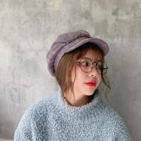 八角帽子女秋冬天时尚英伦贝雷帽麂皮绒鸭舌画家帽日系百搭报童帽