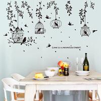 创意客厅卧室装饰简约黑鸟笼墙贴纸个性时尚黑树枝餐厅沙发墙贴画J SK7130黑鸟笼树枝 中