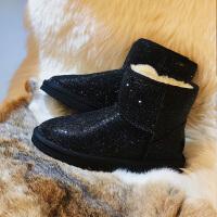 2018新款冬季水钻防水雪地靴女皮毛一体短筒保暖羊毛短靴防滑棉鞋