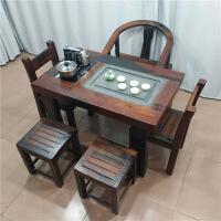 功夫茶几客厅小茶桌老船木小茶桌阳台客厅实木功夫茶几茶台仿古泡茶茶艺桌椅特价 整装
