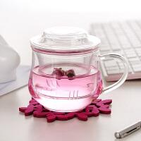 300ML耐�岵AП�三件式花茶杯��意茶杯 ���w玻璃小草帽水杯小�m雅茶杯�k公杯 玻璃�w子