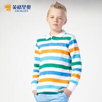英格里奥新款春季男童纯棉长袖T恤POLO衫打底衫3001