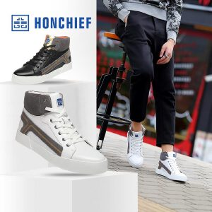 HONCHIE 红蜻蜓旗下 秋冬新款年轻时尚高帮板鞋潮流真皮系带男鞋