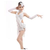 儿童拉丁舞演出服少儿女童拉丁舞裙演出表演比赛服装亮片流苏